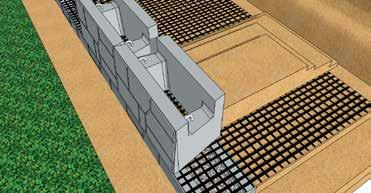 course of MagnumStone units on top of the lower units and Geogrid at a half bond to the lower units The two SecureLugs will fit