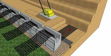 6m long) Place the base units vertical open core over the half rolled length of Geogrid.