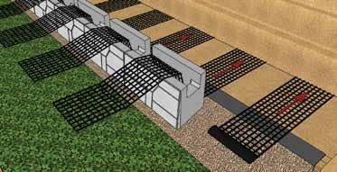 compact the Reinforced Zone by placing materials from the back of the wall towards the end of the Geogrid.