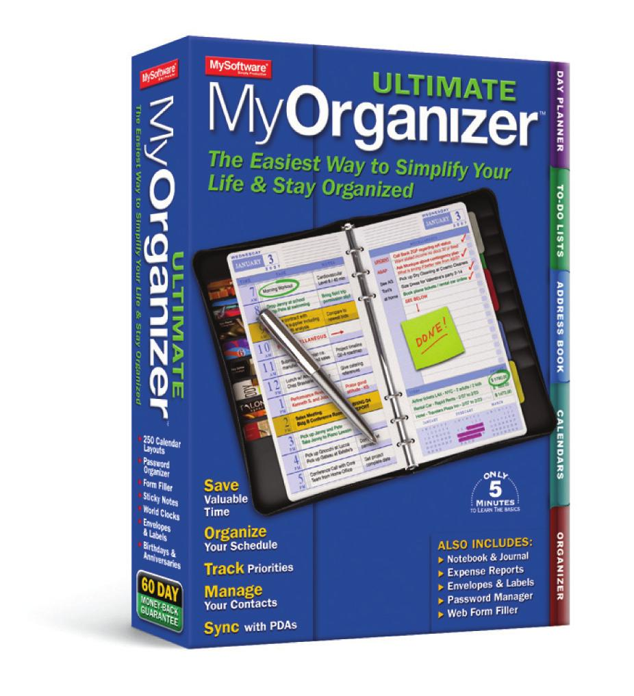 This is the only real-world personal organization utility which has the same simple, familiar and intuitive interface of a traditional paper Day Planner but has the enhanced functionality of a