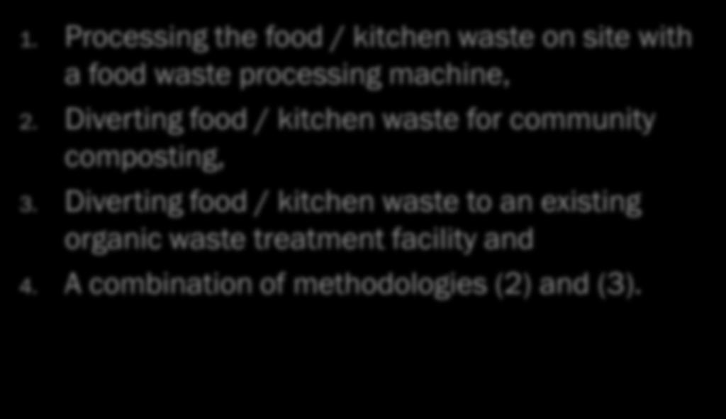 Diverting food / kitchen waste for community
