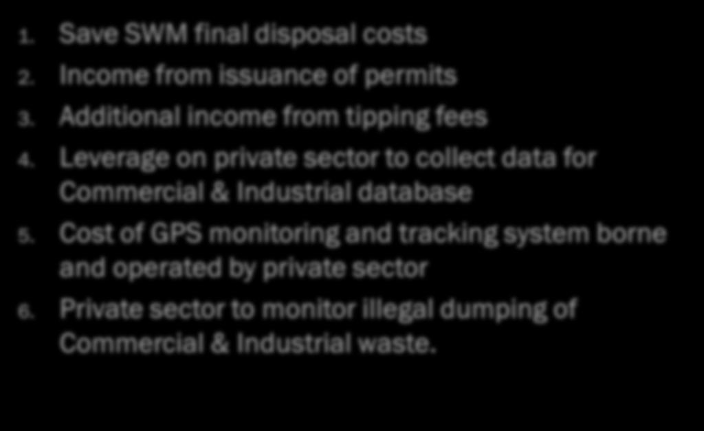 BENEFITS TO LOCAL AUTHORITIES 1. Save SWM final disposal costs 2. Income from issuance of permits 3. Additional income from tipping fees 4.