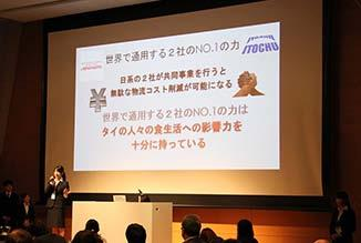 was held over two days. In this program, the children came up with new ideas of brand businesses utilizing the Shunsoku brand handled by ITOCHU Corporation, and even gave presentations.