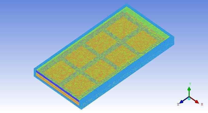 MESHING AND PRE-PROCESSING The model is created using ICEM CFD software. Parts are named as inlet, outlet, glass cover, outer case, aluminium plate, bottom plate.