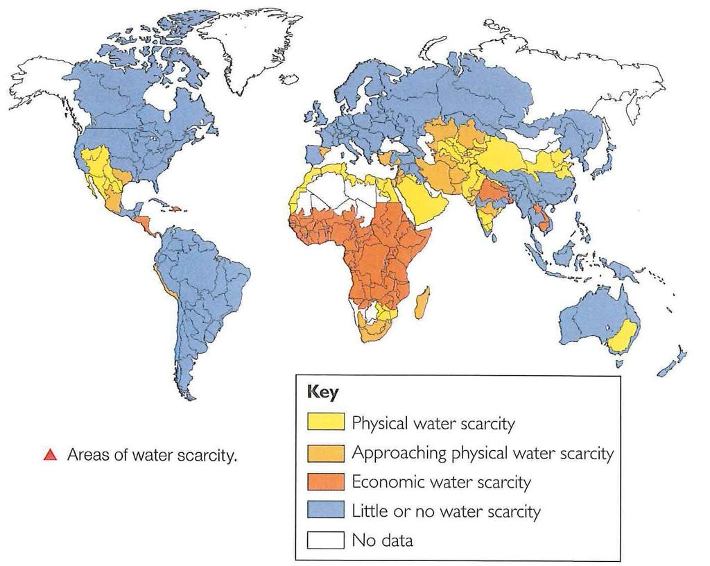 Physical water scarcity: Physical access to water is limited. When demand for water outstrips the lands ability to provide, there is physical scarcity. (Water simply isn t there).