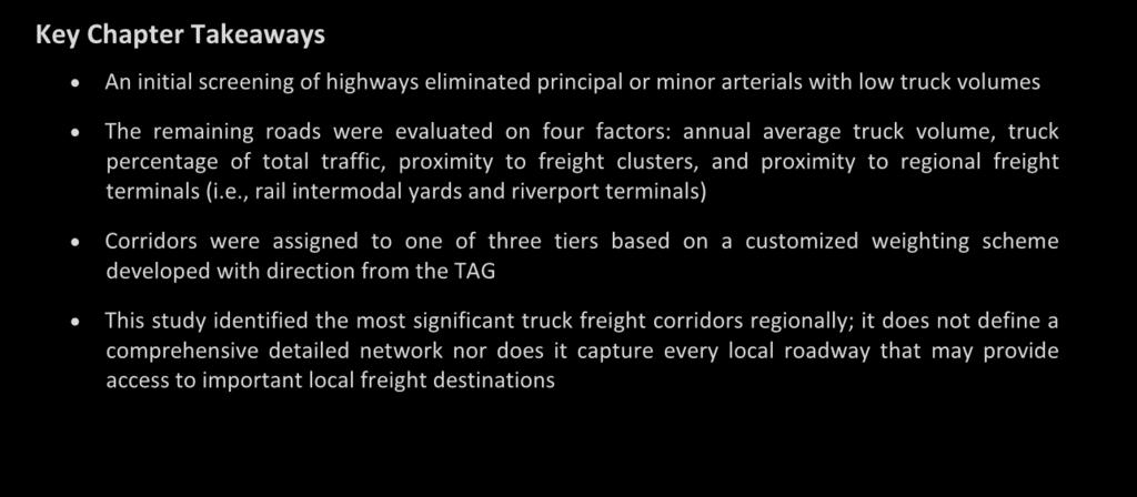 3 Key Truck Freight Corridors in the Twin Cities Region Key Chapter Takeaways An initial screening of highways eliminated principal or minor arterials with low truck volumes The remaining roads were