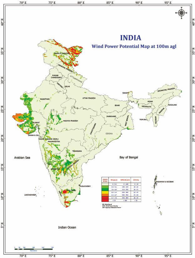 ENERGY MAPS OF INDIA Energy Statistics 2018 Map: Wind Power Potential at 100m agl