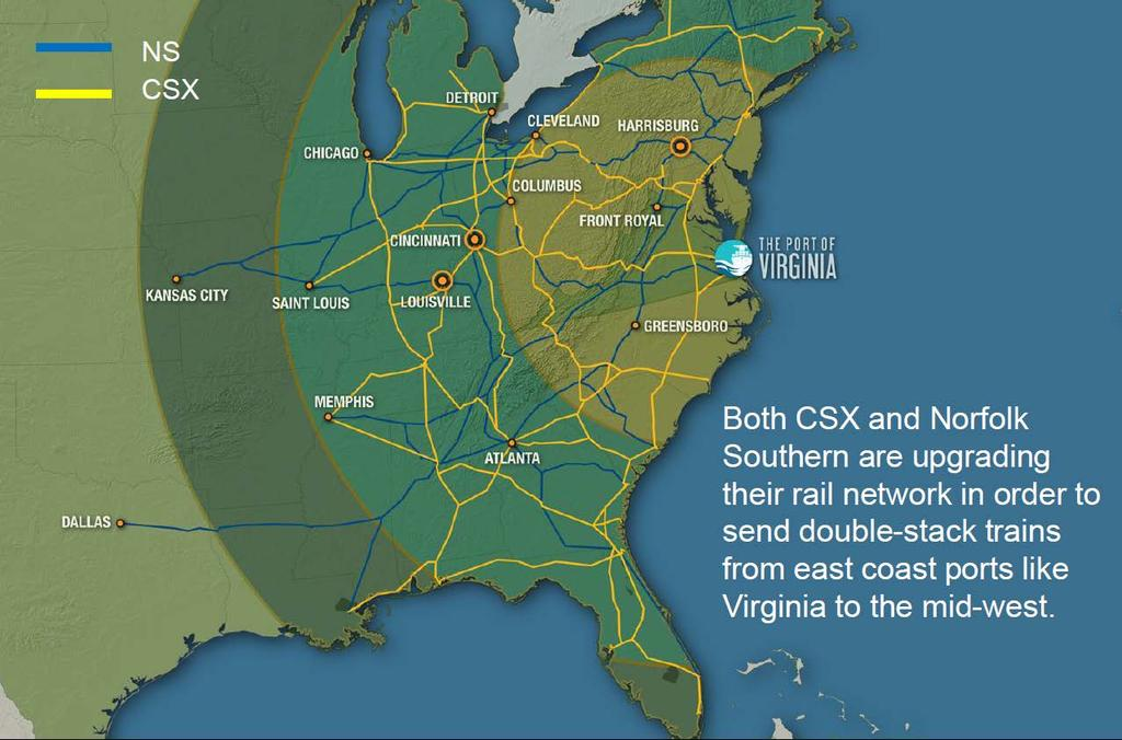 Rail Access in Virginia Norfolk Southern and CSX offer comprehensive freight transportation service.