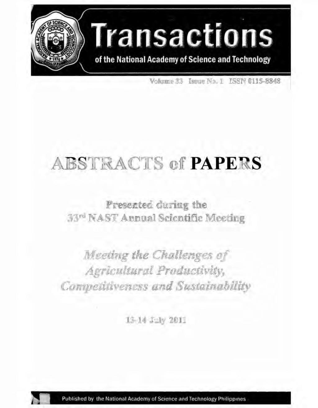 ABSTRACTS of PAPERS Presented during the 33rd NAST Annual