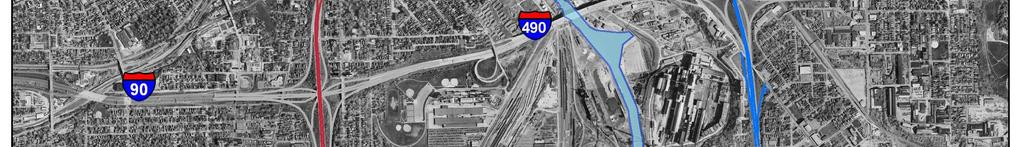 The interchange at Prospect Avenue is missing one ramp, an exit from eastbound I-90. This ramp is located at Carnegie Avenue, one crossroad south of Prospect Avenue.