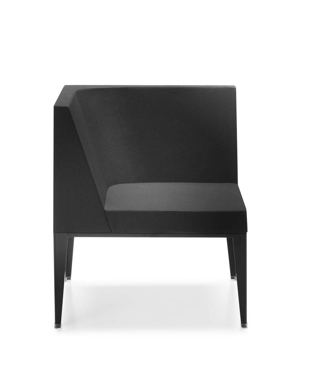 FIRST RECEPTION SEAT Backrest Inner metal structure covered by high density upholstered polyurethane injected foam Interior 11 mm steel rod Seat 16 mm thick inner particle board Structure 40x15x1,5