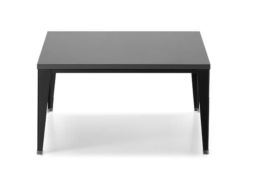 TABLE Top Varnished / Melamine wood Structure 40x15x1,5 rectangular steel tube Metal polar white Metal silver grey Black metal Floor support