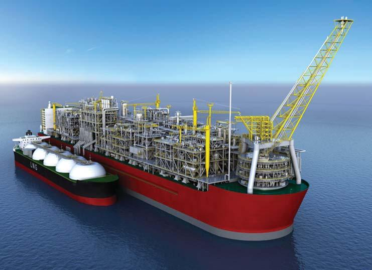 The Prelude FLNG is around five times as large as a conventional LNG tanker. The cooling plant, will be placed above vast storage tanks with a capacity equivalent to around 175 Olympic swimming pools.