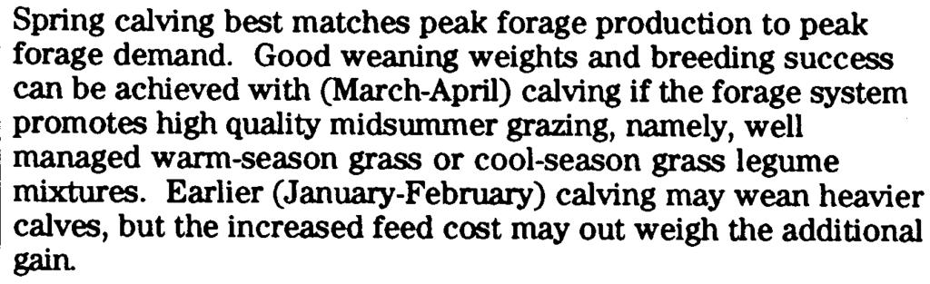 Overhead #6 Spring calving best matches peak forage production to peak forage demand.