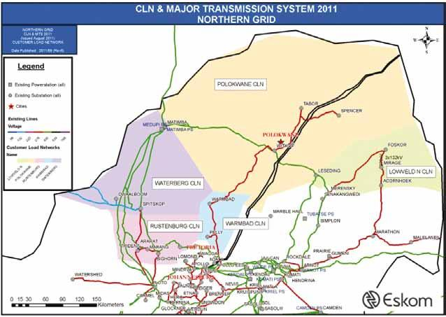 6.3 NORTH GRID The North Grid consists of five CLNs, namely Waterberg, Rustenburg, Lowveld (northern part), Bela-Bela (formerly Warmbad) and Polokwane.