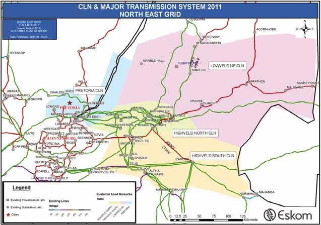 6.4 NORTH EAST GRID The North East Grid consists of four CLNs, namely Highveld North, Highveld South, Lowveld (southern part) and Pretoria.