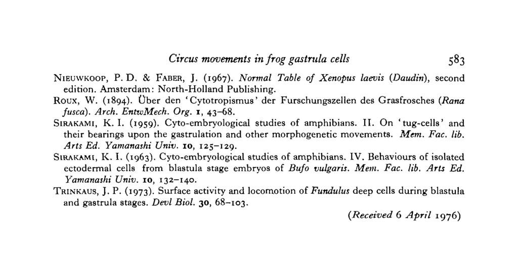 Circus movements in frog gastrula cells 583 NIEUWKOOP, P. D. & FABER, J. (1967). Normal Table of Xenopus laevis (Daudin), second edition. Amsterdam: North-Holland Publishing. Roux, W. (1894).