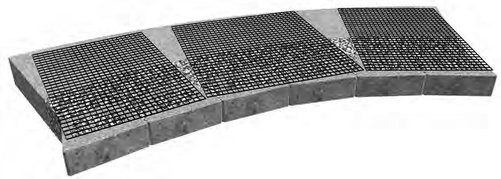 BASIC GEOGRID REINFORCEMENT - CONCAVE CURVE Step 1 - Grid Placement Cut geogrid to required lengths and place the grid as close to the face of the wall without exposing it when following the contour