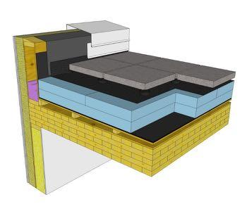 conventional or protected membrane assemblies Conventional roof with tapered insulation over wood joists Connect control layers at