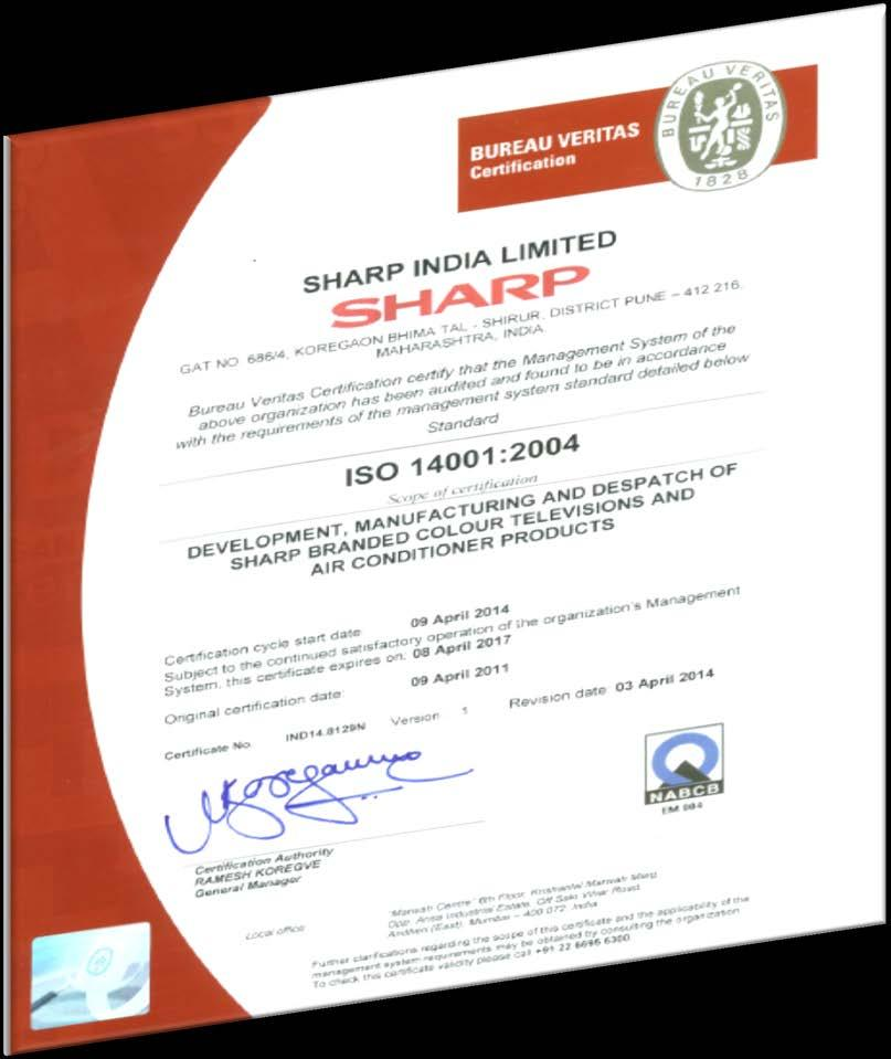1. Status of ISO 14001 certification SIL