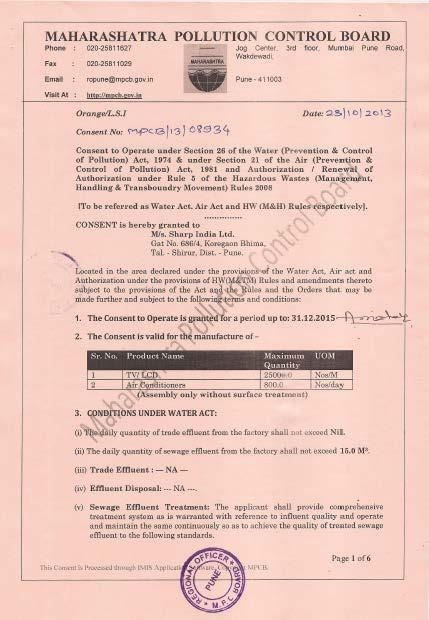 2. Status of certification from Government Pollution Control board SIL received consent from