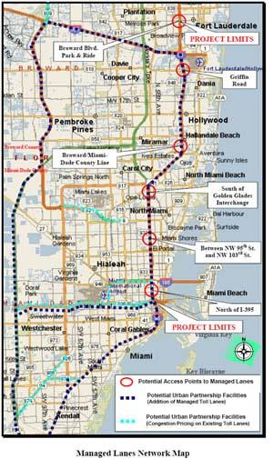 Miami Urban Partner Create 21 miles of HOT lanes on I-95 from Fort Lauderdale to downtown Miami Raise HOV limit from HOV2+ to HOV3+ Expand 10-lane highway to 12 lanes (by reducing the width of
