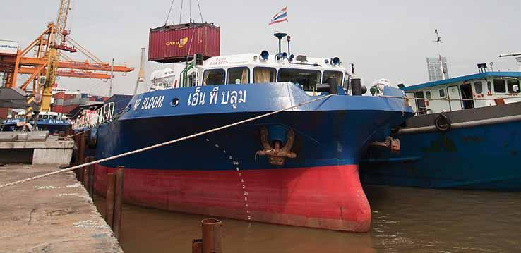 5 meters Daily barge services between Sahathai and Laem Chabang Inland Waterway and