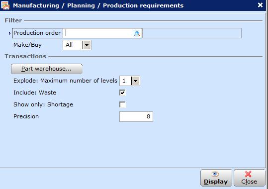 Chapter 3 Materials Management Another possibility is that you can define the intended items requirements based on specific warehouses by considering the BOM structure levels and waste percentage