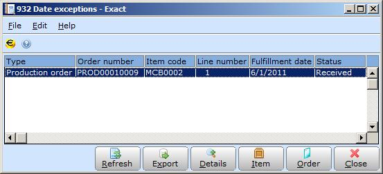 3.2.5 Overview of date exceptions Exact Globe Next can advise on realistic fulfillment dates when generating production orders.
