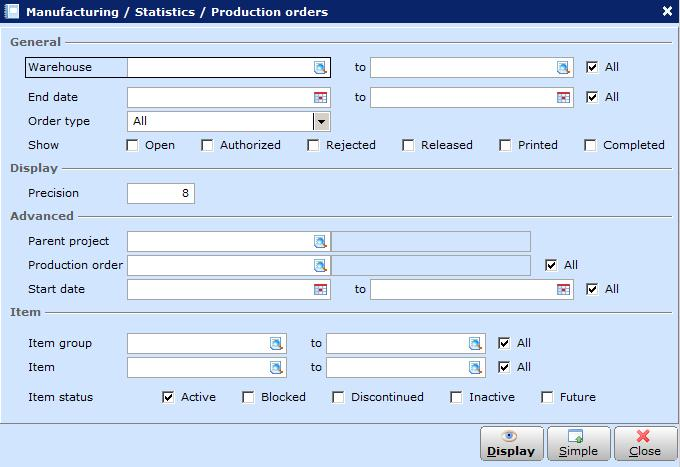 6.2 Production Order Status Reports The production order status report allows you to get an overview of the production orders grouped into the various production order statuses.