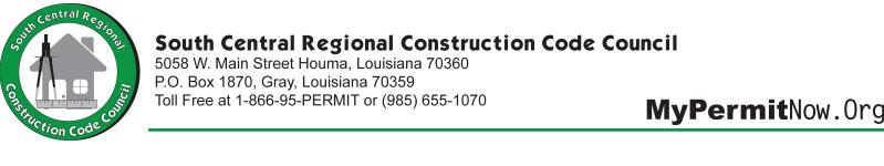 Residential building code review will be based on compliance with the requirements of the Louisiana State Uniform Construction code in accordance with ACT 12 of the 2005 First Extraordinary Session