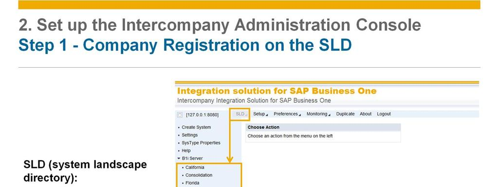 Before proceeding with the Intercompany integration solution setup, ensure that a system landscape directory (SLD) entry exists