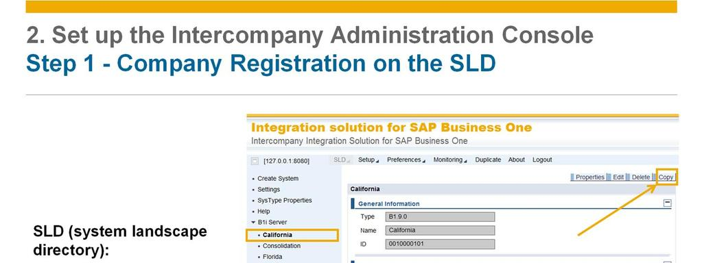 Then, register all branch and consolidation companies on the SLD (system landscape registration) page.