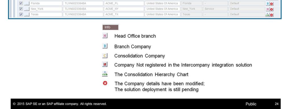 After saving the company details, the company is registered to the Intercompany Landscape and the registration details appear in the Company Registration table.