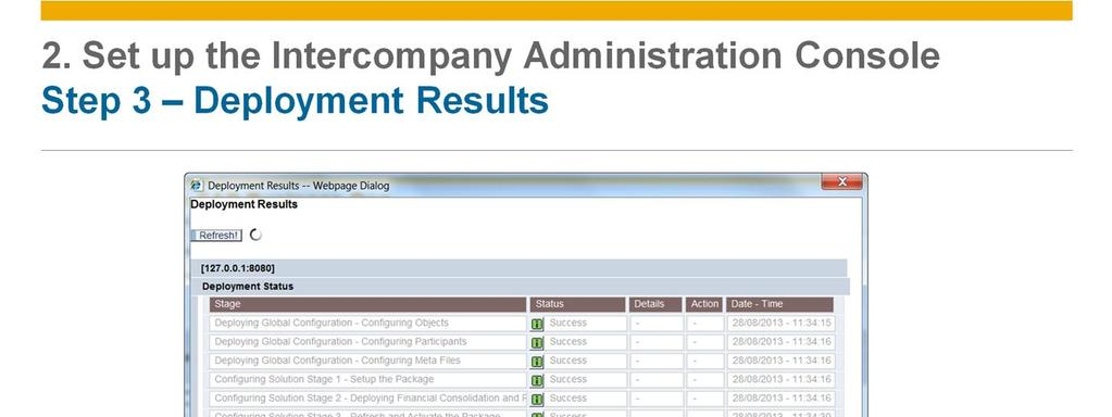 The Deployment Status table opens and displays the progress and status of various deployment tasks.