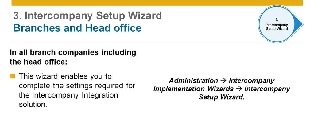 After completing the setup of the Intercompany Administration Console, go through the Intercompany Setup Wizard in all branch companies including the head office.