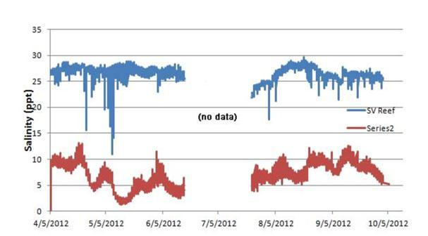 P a g e 13 Fig. 15. Temperature and salinity sonde data for 2012 from Hastings and Soundview reefs.