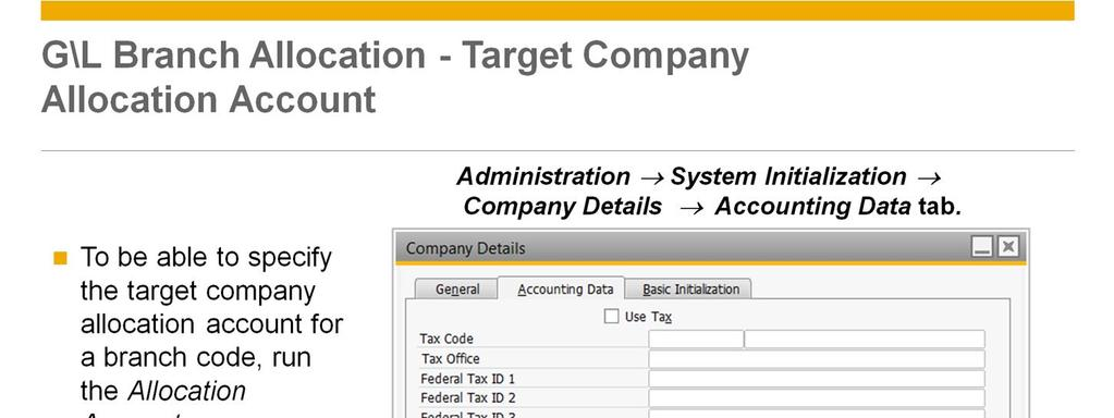 To be able to specify the target company allocation account for a branch code, you should run the Allocation Accounts Synchronization option.
