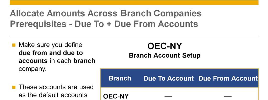 Make sure you define due from and due to accounts in each branch company. These accounts are used as the default accounts for the transactions: G/L branch allocation. A/P service invoice allocation.