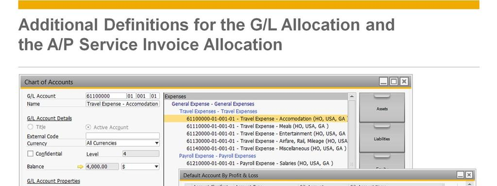 When posting an allocation from a company (for example the head office NY), the system will use the Account Classification and Account Type attached to the allocation account (for example: travel