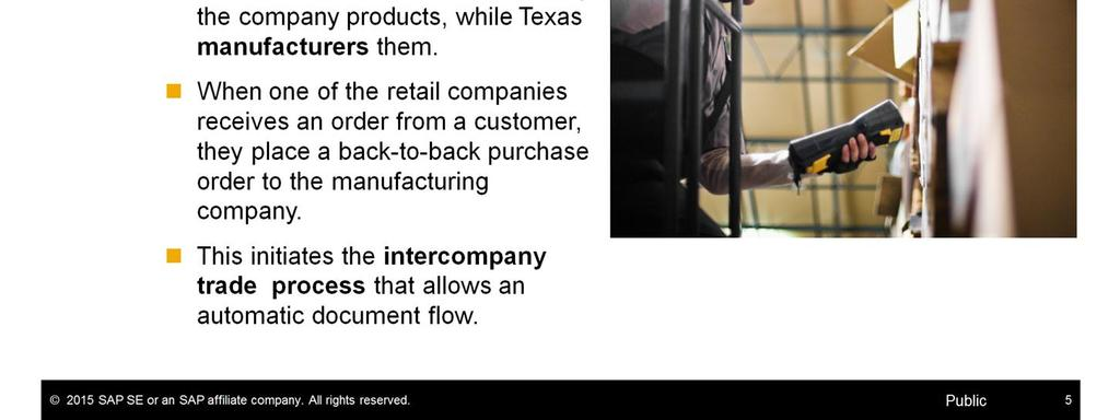 New York and California are selling the company products, while Texas manufacturers them.