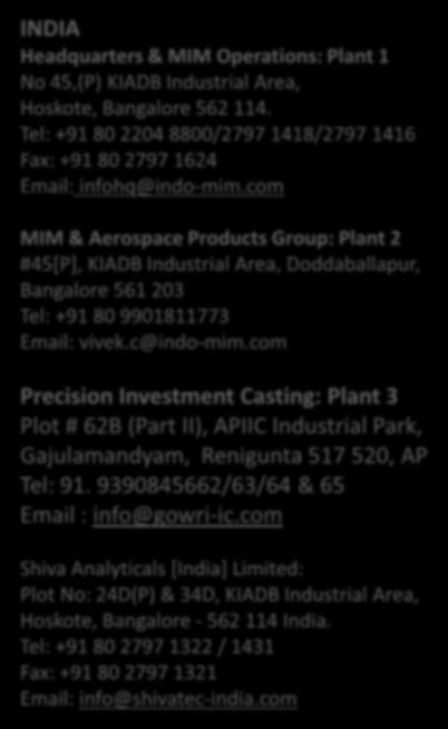 com Shiva Analyticals [India] Limited: Plot No: 24D(P) & 34D, KIADB Industrial Area, Hoskote, Bangalore - 562 114 India. Tel: +91 80 2797 1322 / 1431 Fax: +91 80 2797 1321 Email: info@shivatec-india.