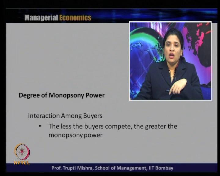 (Refer Slide Time: 49:48) Interaction among the buyers, the less the buyers compete, the greater the monopsony power.