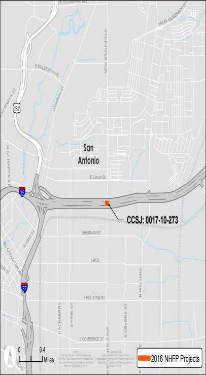 NHFP Project: San Antonio, I-35 Bridge and Approaches Bridge has been repeatedly hit by overheight vehicles due to 14 6 clearance. I-35 is the most utilized trade corridor in the state and nation.