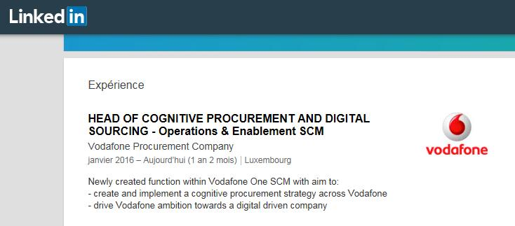 New procurement roles: Head of Cognitive Procurement and Digital Sourcing What makes a