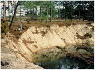 Crack in the ground near an irrigation canal Subsidence Sinkhole produced by irrigation Figure 6.