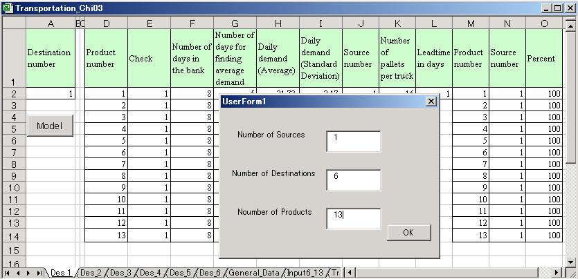 Figure 6: The Start of The Excel VBA Macro 3.3.3 Destination Module This module was designed to specify the parameters on each destination.