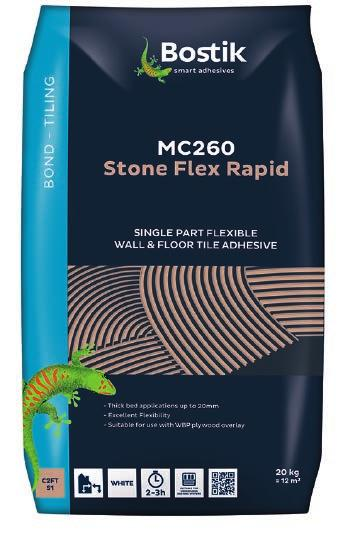MC210 Stone Flex adhesive may be used for fixing large format ceramic, natural stone floor tiles, non-porous tiles such as fully vitrified and porcelain stoneware, terrazzo tiles and slabs, and