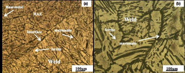 Figure 1. Optical micrograph formed in the weld as compared to BM, however, coarse martensite was observed in the weld compared to BM.