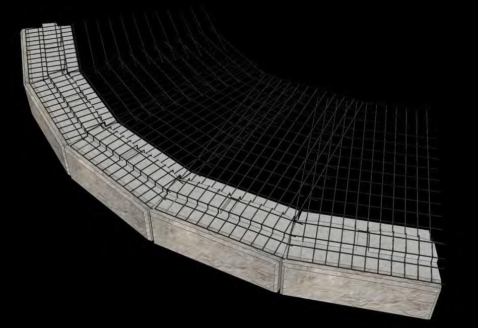 Geogrid Placement on Curved Walls Most accepted design methodologies stipulate that the reinforcement shall be continuous along the length of the wall at both the front and rear of the reinforced